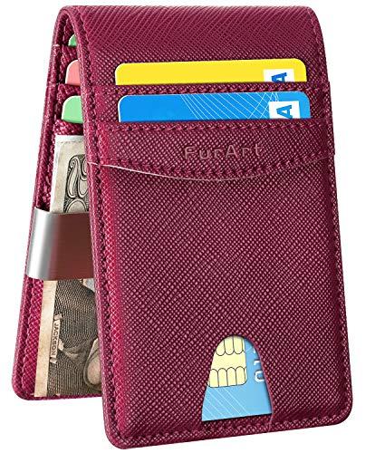 FurArt Bifold Wallet, Genuine Leather Slim Minimalist Wallets with Money Clips, RFID Blocking,Credit Card Holder (Wallet Money Women)