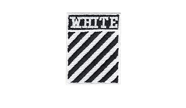 White Stripes Box Logo DIY Iron On Embroidered Applique Patch