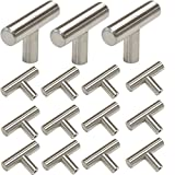 kitchen cabinet bar knobs Probrico Stainless Steel Modern Cabinet Drawer Handle Pulls Kitchen Cupboard T Bar Knobs and Pull Handles Brushed Nickel - Single Hole - 15Pack