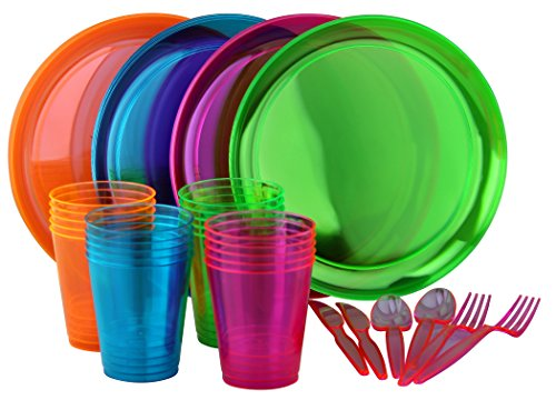 Bright Neon Party Set, Includes Assorted Colors of Neon Plates, Cups and Cutlery