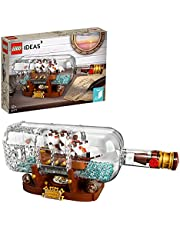 LEGO 92177 Ideas Schip in een Fles Bouwset met Weergavestandaard, Modelbouwpakket met Model Schip Voor Kinderen en Volwassenen