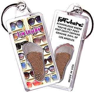 product image for Los Angeles FootWhere Keychain (LA103 - Sun Shades). Authentic Destination Souvenir acknowledging Where You've Set Foot. Genuine Soil of Featured Location encased Inside Foot Cavity. Made in USA