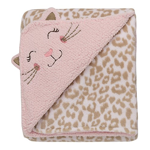 Baby Starters 2-Ply Reversible Kitty Embroidered Luxe Blanket with Cheetah ()