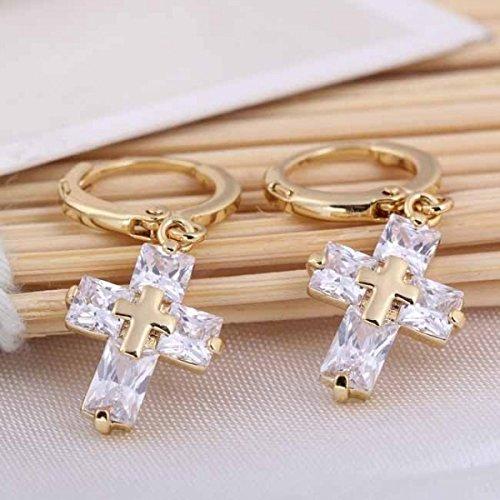 Boucles d'oreilles croix cristal swarovski elements zirconium plaqué or