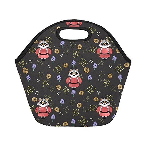 InterestPrint Cute Raccoon Japanese Floral Reusable Insulated Neoprene Lunch Tote Bag Cooler 11.93