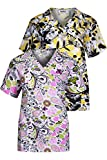 MedPro Women's Printed Mock Wrap Medical Scrub Top Multi Pack Green Yellow M