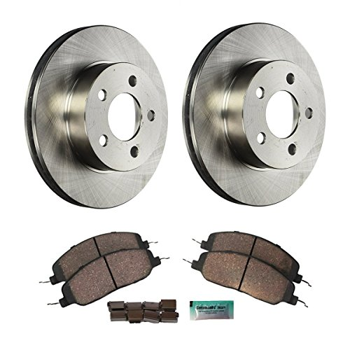 Detroit Axle - Complete Front Brake Rotor Set & Brake Pads w/Clips Hardware Kit Premium GRADE for 2008-2010 Chrysler Town & Country - [2008-2010 Dodge Grand Caravan/Journey] - 2009-2010 VW - Set Complete Hardware