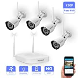 Wireless Security Camera System,Safevant Full-HD 4CH Video Security System with 4pcs 720P Wireless Security Cameras,65ft Night Vision,NO HDD,Auto-Pair,Plug&Play