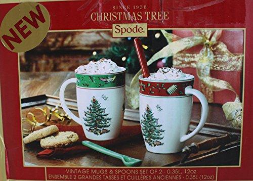 UPC 749151603608, Spode Christmas Tree Vintage Mugs & Spoons Set of 2 - 12oz