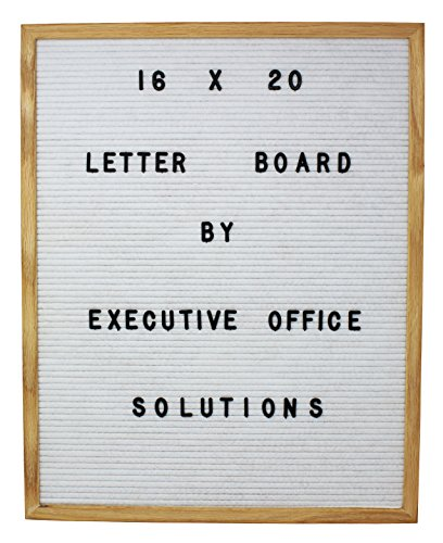 Wall Oak Frame Mount - 16 X 20 Changeable Letter Board - White Felt with Solid Oak Frame, Wall Mount, Canvas Bag, and 290 Characters - by Executive Office Solutions