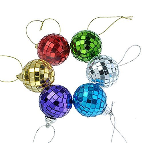 Yerwal 6pcs Disco Mirror Glass Ball Christmas Ball Xmas Tree Ornament Decoration with Cosmos Fastening Strap (Medium/Multi color) (Mirror Ornament)