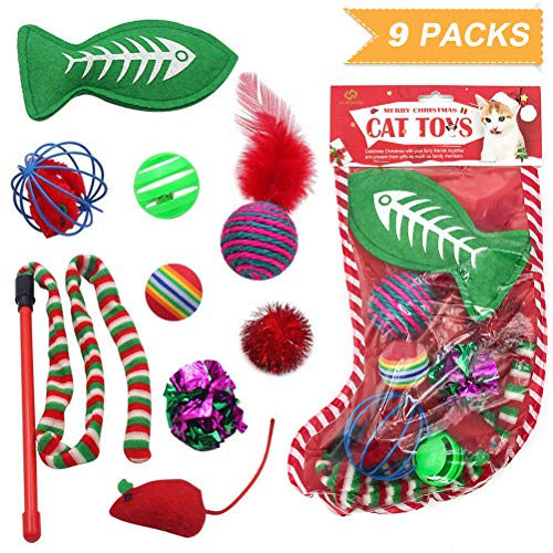 SCIROKKO Christmas Cat Toys Stocking Set for Cats, Includes Jingle Toy,Mice Ball,Catnip Fish,Feather Ball,Mylar Crinkle Ball,Cat Teaser Wand & More Cute Kitty Toys 2