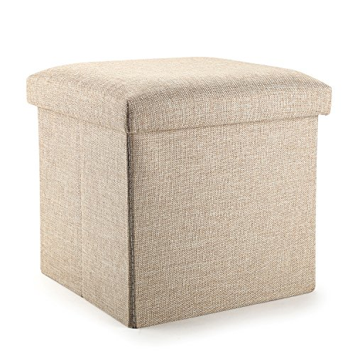 MEÉLIFE Ottoman Cube with Storage, Mee'life Linen Fabric Folding Organizer Storage Ottoman Basket Bins Boxes Containers with Lids for Office Home Foot Rest Stool/Seat (Brown Cube)