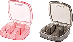 Waterproof Sealed Pill Case (2 PCS) - MYEEHO Portable Small Medicine Organizer with 5 Compartments - Vitamin Mini Tablet Compact Dispenser Holder Container Storage Box for Travel to Go Pocket Purse