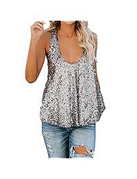 Keliay Bargain Womens Sequin Sleeveless Loose Tank Tops Blouse Vest 32f2ea80d5be