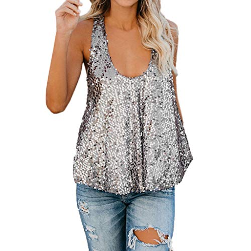 Koolee_Tops Women's Shimmer Glitter Sequined Sleeveless Vest Tank Tops Shirt (S, Silver)