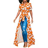 Womens Short Sleeve Bohemian Open Front Split Button Belted Africa Long Shirt Dress Cocktail Party Dress