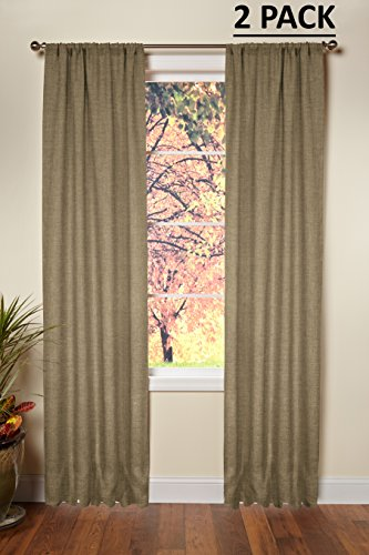 Cotton Craft – 100% Jute Burlap Rod Pocket Window Panels – Color – Natural – Set of 2 – Size – 48×84 – Made from Eco-Friendly 100% Natural Jute