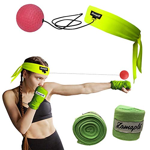 Bar Headband - Zomaple Boxing Reflex Ball, Punching Ball, Speed Ball, Fight Ball Hand Eye Coordination Training - Head Ball, Egg Weights Boxing, Spar Bar Boxing Set Includes Non-Sweat Headband & Hand Wraps