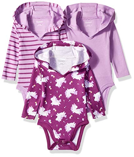 Hanes Ultimate Baby Girls Flexy 3 Pack Hoodie Bodysuits, Purple Fun, 12-18M