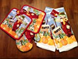 Scarecrow and Owl Pumpkin Season Kitchen Dish Towels with Oven Mitt and Pot Holders)