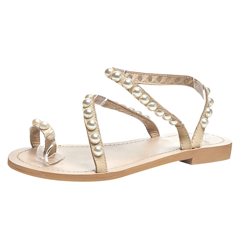 Jamron Women Top Quality Genuine Leather Luxury Pearls Studded Flat Toe Ring Sandals Big Size Beige SN02408 US10