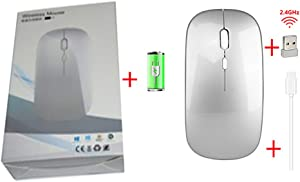 Hongqiang 2.4G Wireless Mouse, Rechargeable 4-Button 3 Speed DPI Adjustable Slim Mouse for Laptop Mouse for Home/Office,Silver