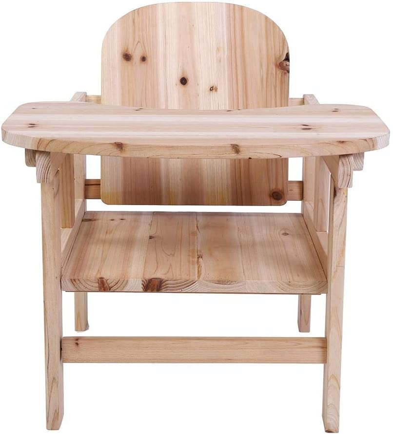 Baby Wooden Highchair Wooden Baby Feeding Chair and Table Detachable Highchair with Adjustable Tray for 0-4 Years Baby