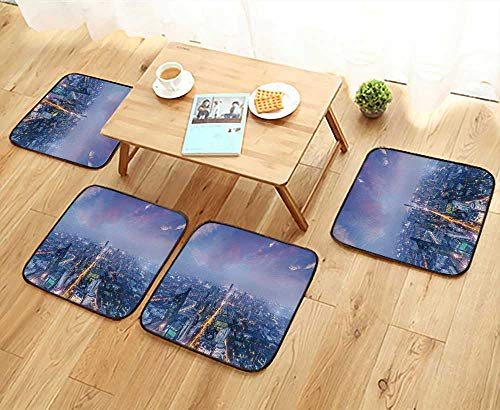 - UHOO2018 Universal Chair Cushions Skyline and of City at Night nanj China Personalized Durable W15.5 x L15.5/4PCS Set
