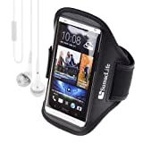 SumacLife Neoprene Sports Armband for HTC ONE M7 + VanGoddy White Headphone with MIC (Black)