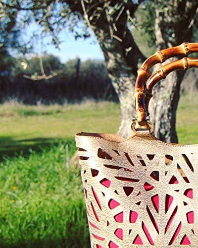 Artipel Borsa in sughero dorato con manici in bambù tagliati a laser in stile vintage.