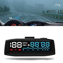 XCSOURCE 4F Car HUD OBDII Windshield Projector Head Up Display KM\H MPH Overspeed Warning Engine Coolant Alarm Fuel Time MA1148