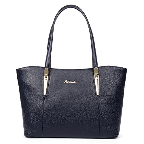 BOSTANTEN Leather Handbags Designer Tote Purse Shoulder Bags for Women Navy Blue (Blue Leather Handbags)