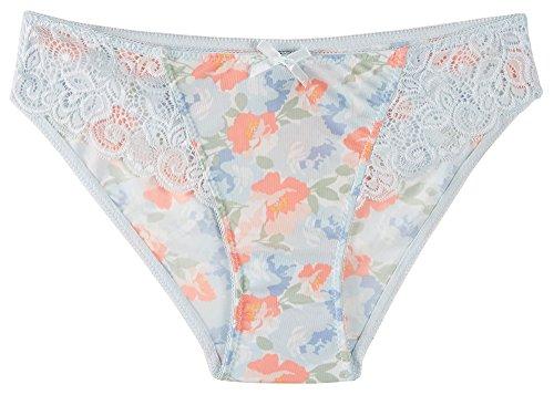 Bay Studio Lace Trim Bikini Panties 195279 Medium Blue Floral/Multi