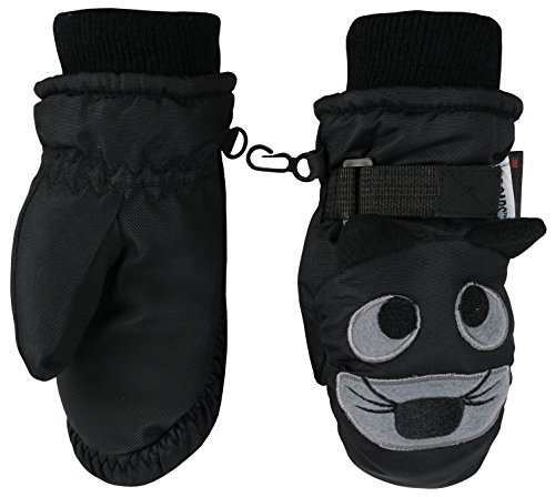 N'Ice Caps Little Kids and Baby Cute Animal Faces Waterproof Winter Mittens (Tiger - Black, 2-3yrs)