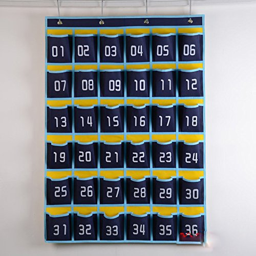 Lecent@ Classroom Pocket Chart for Cell Phones Business Cards 36 Pockets Wall Door Closet Mobile Hanging Storage Bag Organizer with Hooks (Printing number)