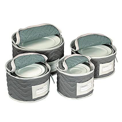 Charmant Richards Homewares Micro Fiber Deluxe Plate Case, Set Of 4 Grey