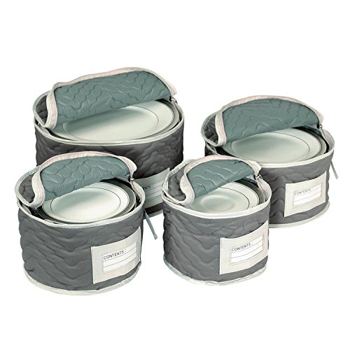 Label Plastic Cover Holder Clear (Richards Homewares Micro Fiber Deluxe Plate Case, Set of 4-Grey)