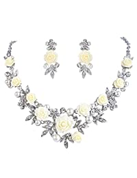 Ever Faith Silver-Tone Crystal Simulated Pearl Yellow Rose Flower Leaf Necklace Earrings Set Clear
