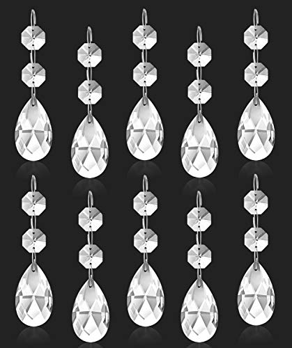 Clear Crystal Chandelier Prisms Pendants Glass Crystal Pendants Cristal Beads Teardrop Lamp Chain Chystal Beads for Home Garland Door Curtain Wedding Christmas DIY Jewelry Craft Projects Decor-10Pcs
