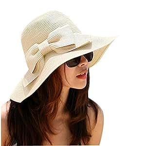 Sealike Foldable Bowknot Straw Hat Cap Wide Brim Beach Sun Visor for Women Girls with Stylus Beige