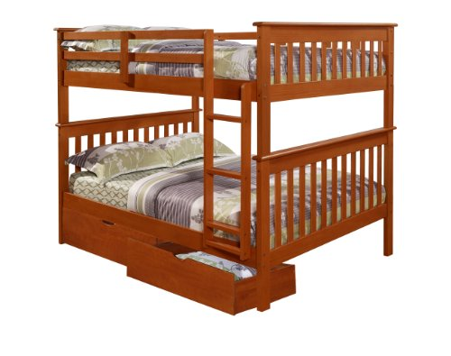DONCO Bunk Bed Full over Full Under-Bed Drawers in Espresso
