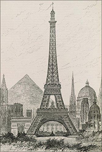20x30 Poster; Hauteur Comparee De La Tour Eiffel Et Des Principaux Monuments Du Monde