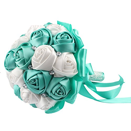 Aqua wedding decorations amazon aerwo aqua blue silk rose wedding flowers bouquet flowers bridal bouquets crystal rhinestone wedding bouquet supplies junglespirit Images
