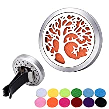 Bluesnow Car Air Freshener Aromatherapy Essential Oil Diffuser Clip, Stainless Steel Hollow Tree of Life Round Locket with 12 Refill Pads