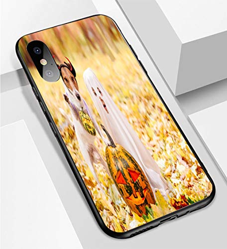 iPhone X/XS Ultra-Thin Phone case Kid and Dog Dressed in Halloween Costumes with Jack o Lantern Pumpkins Anti-Drop Anti-Slip Soft Convenient Protective Shell