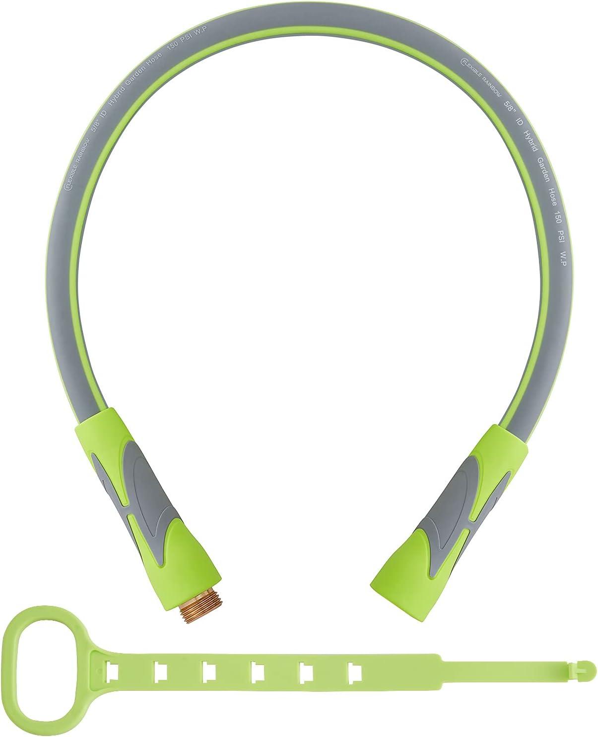 Garden Hose, Hybrid 5/8 in, Heavy Duty, Light Weight and Flexible Water Hose (Green, 3' (feet))