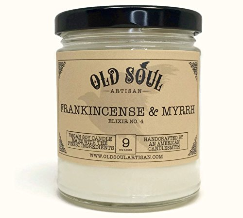 Frankincense & Myrrh Scented Soy Candle - Hand poured - 9 oz - Vegan
