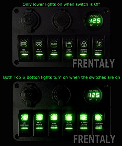 Proelectric-Green-LED-Light-2-Waterproof-MarineBoat-Car-Switch-Panel-6-Gang-USB-Charger-Voltage-Indicator-Power-Socket-5-pin-On-Off-Rocker-Switch