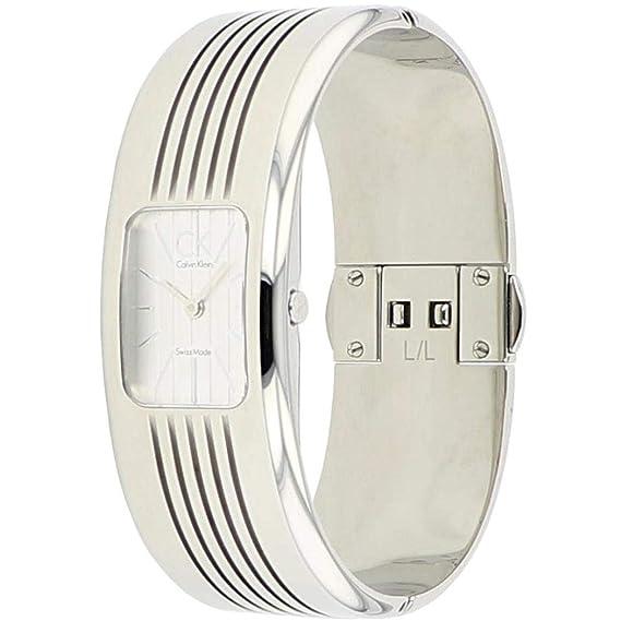 Calvin Klein Fractal K8123120 - Reloj de mujer de cuarzo, correa de acero inoxidable color plata: Amazon.es: Relojes